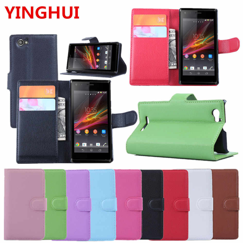 separation shoes f74d4 47387 For SONY Xperia M C1905 Case Luxury Wallet PU Leather Back Cover Phone Case  4.0inch Case Flip Protective Cover Bag 9 color