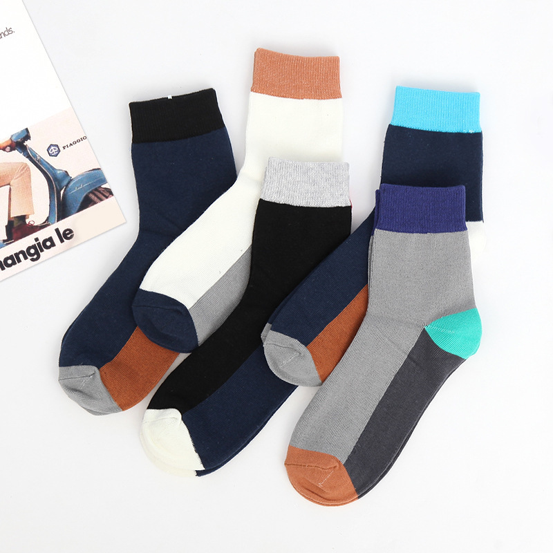 Cotton Men Socks Casual Simple Mixed Color Business Calcetines Hombre Cotton Brand Dress Cress Sox Harajuku Design Meias Autumn