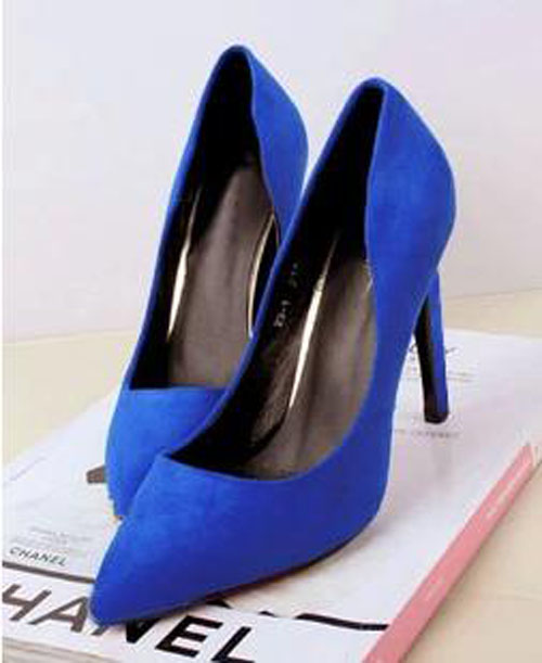 navy blue velvet single shoes fashion pointed toe thin heels high ...