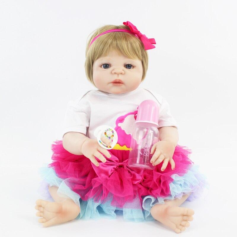 55 cm Del Silicone Pieno Del Bambino-Reborn Bambola Giocattolo Neonato Bambino Della Principessa Del Bambino Neonati Bebe Bambola Della Ragazza Bonecas Fare Il Bagno Giocattolo di Moda regalo di compleanno