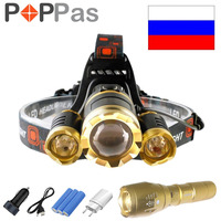 POPPAS Gold LED Headlamp And Flashlight 10000LM CREE 3T6 L2 Chips Headlight Rechargeable Zoom Light Hunting