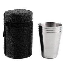 4 шт. 30 мл 70 мл 180 мл походная чашка из нержавеющей стали кружка для кемпинга походная Складная портативная чашка для чая, кофе, пива с черной сумкой