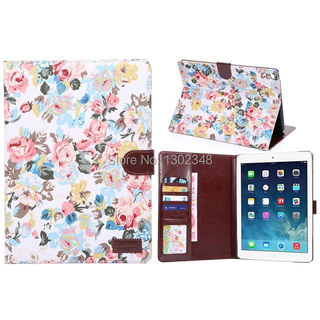 Fashion Calico Cloth + PU Leather Book Cover Wallet Tablet Protect Case for Apple iPad Air 2 iPad 6 Ipad 6, with Card holder
