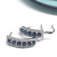 Earrings Natural Dark Blue Sapphire Gemstone Solid 925 Silver Gemstone Earrings For Woman Silver Earring