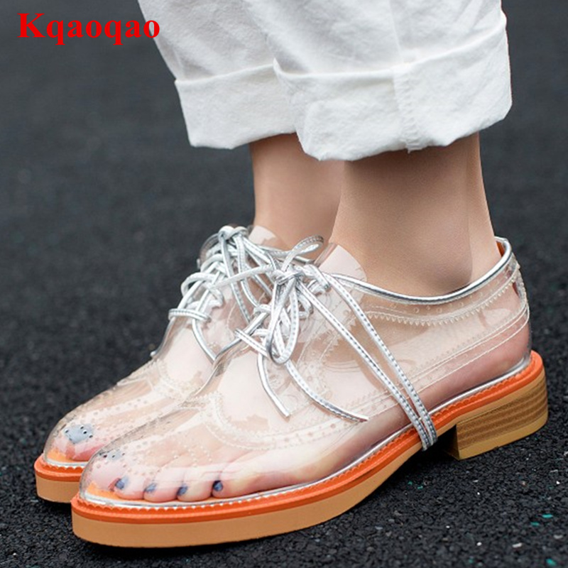 Round Toe Women Shoes Front Lace Up Low Top Transparent Chaussures Femmes Stylish Casual Shoes Low Heel Brand Star Runway Shoes round toe women boots short booties luxury brand designer super star runway shoes chaussures femmes front lace up shoes flats