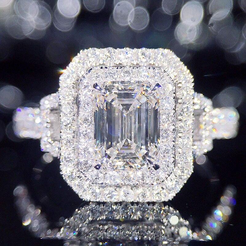 Модные дизайн 18 К белого золота центр 1ct Изумрудный разрезанный Муассанит двойной Halo Кольцо обручение кольцо обручальное кольцо украшения