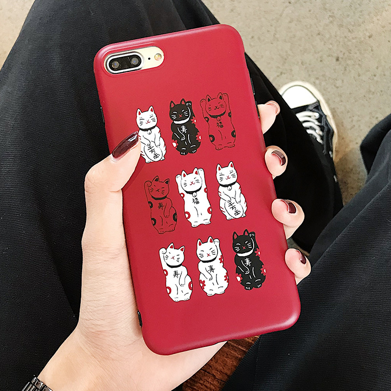Red Cute Kawaii Lucky Cat Phone Case For iPhone Matte Soft Back Cover iPhone Cases