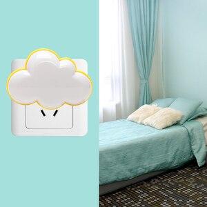Image 4 - Woodpow kreatywna chmura kontrola czujnika światła LED noc gniazdo elektryczne lampka nocna dzieci lampka nocna do sypialni ue/usa wtyczka LED Light