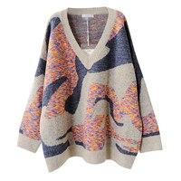 2018 New Winter Sweater Knit Shirt Jacket Long Sleeve Cuffs Retro V Neck Sweater Plus Size