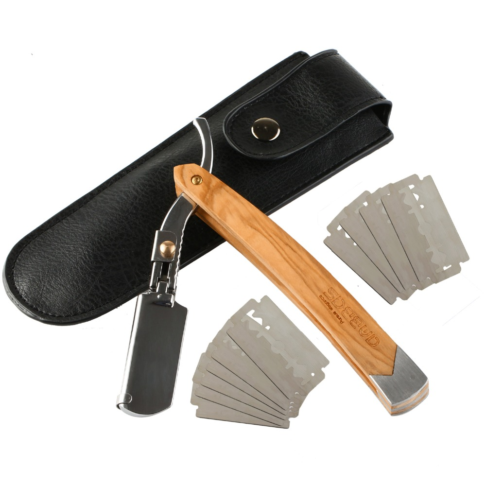 Straight Edge Razor, Anbbas Folding Shaving Shavette Razor With Solid Olive Wood Handle Black Quality Artificial Leather Pouch