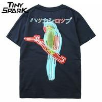Japanese Harajuku T Shirt Men Parrot Bird Print Hip Hop Tshirt Streetwear 2018 Summer Casual Cotton