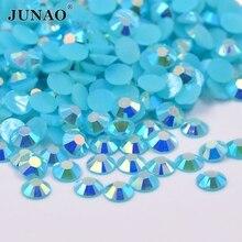JUNAO 2 3 4 5 6 mm Blue Zircon AB Resin Rhinestone Flat Back Nail Crystal 8554ed008216