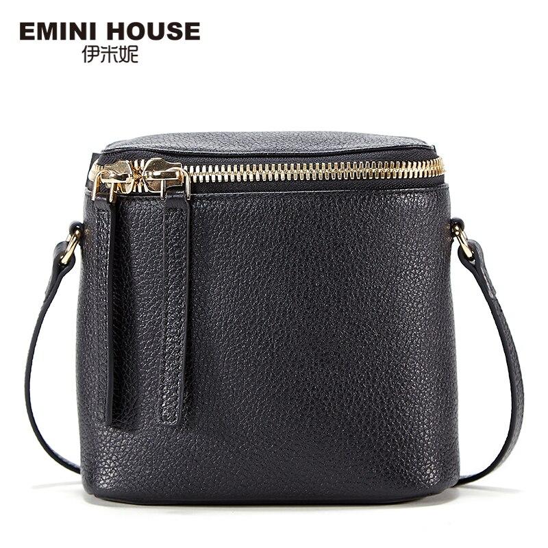 EMINI HOUSE Fashion Genuine Leather Mini Bucket Bag Women Messenger Bags Travel Shoulder Bag Crossbody Bags