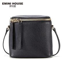 Emini house moda cubo mini bolso de cuero genuino mujeres mensajero bolsas de viaje bolsos de hombro del bolso de crossbody para las mujeres