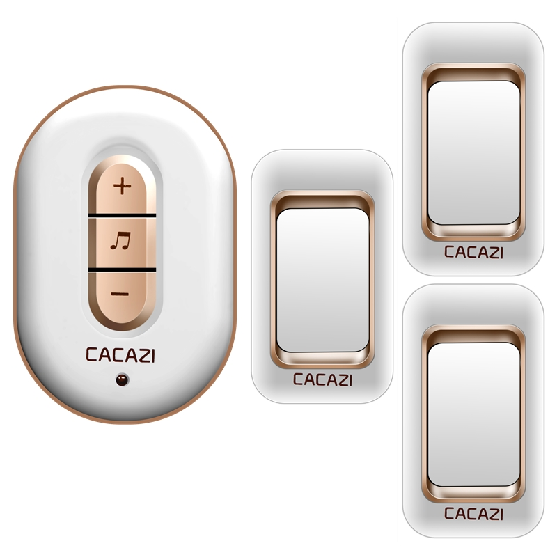 CACAZI wireless doorbell 300M remote 3 waterproof IP44 transmitters+1 AC plug-in receiver door bell 48 chime 6 volume door ring cacazi a9 3 ac 75 250v wireless doorbell 1 waterproof button 3 receivers 52 ringtones 4 volume 300m remote electronic doorbell