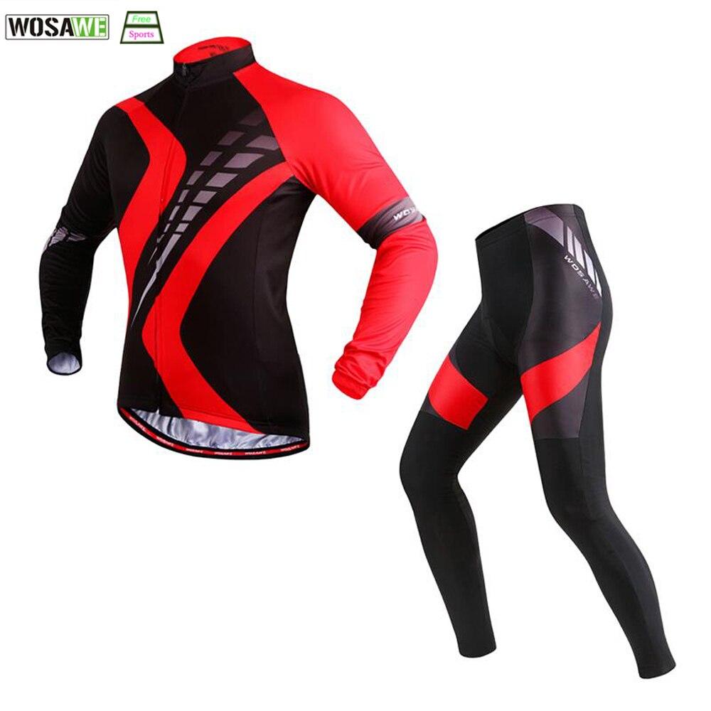 WOSAWE Autumn Cycling Jersey Sets Bicicleta Mountain Bike Ciclismo Bicycle Riding Maillot Long Sleeve Shirt + Gel Padded Pant