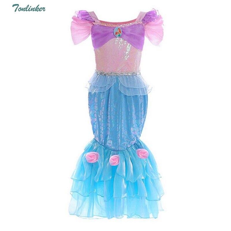 Tonlinker Summer Girls Sequin Mermaid Costume Princess Dress Kids ruffes Cosplay Halloween vestidos 2018