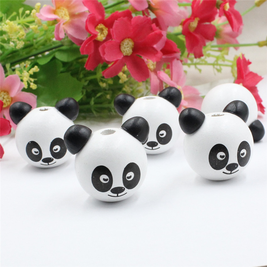 Beads Charitable 10pcs/lot Wooden Panda Animal Cartoon Bear Head Beads For Baby Diy Pacifier Holder Clip Necklace Spacer Beads 24x26x28mm K05503 Products Are Sold Without Limitations Beads & Jewelry Making