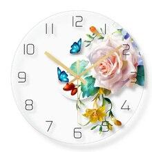 Милые бабочки настенные часы домашний декор кварцевый развертки механизм для гостиной 30cm12inch девочек Детская Единорог и Радуга Декор