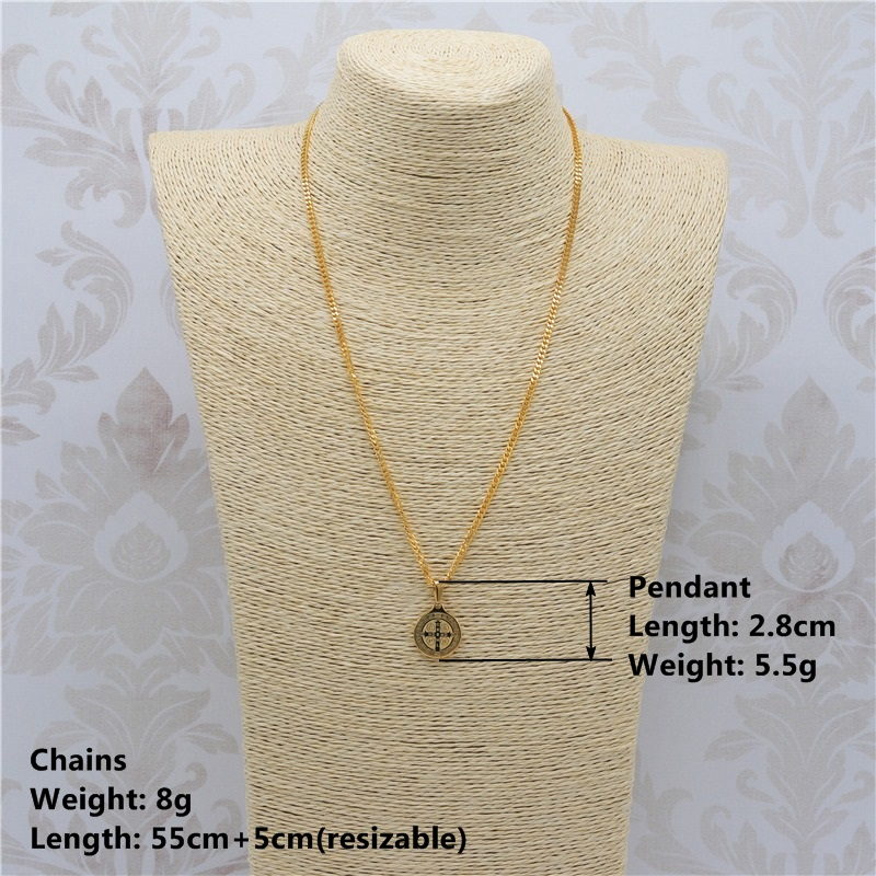 b9037ba804d Men's Gold Patron Staint St BENEDICT Necklace Pendant Protection Saint Medal  Cross Small Size Catholic Religious Necklace JF2278-in Pendant Necklaces  from ...