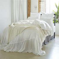 غسلها سوبر لينة تكدرت الأبيض الخوخ اللون لحاف لتغطية الفراش مجموعة 3 قطعة حجم الولايات المتحدة التوأم الملكة الملك بنات طقم سرير كيس وسادة