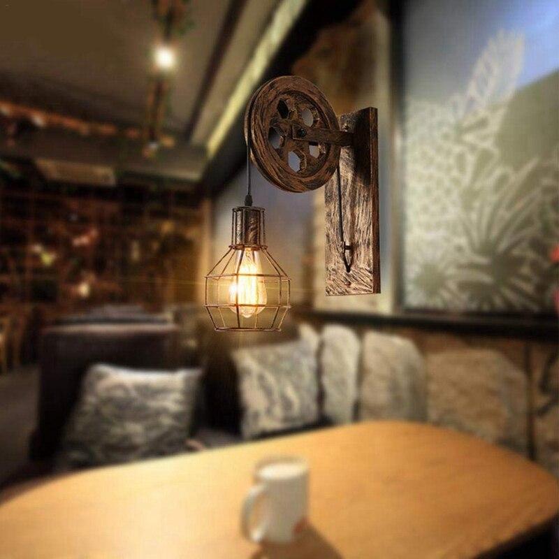 Image 5 - Retro Loft Light Pendant Suspension Light Lifting Pulley Wall Lamp Restaurant Aisle Pub Cafe Light Bra Sconce Lantern-in Pendant Lights from Lights & Lighting
