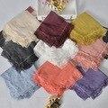 2016 Newest Women Lace Trim Scarf Women Cotton Linen Lace Trim Scarf Shawls Wraps Hijabs 8Colors 10pcs/Lot