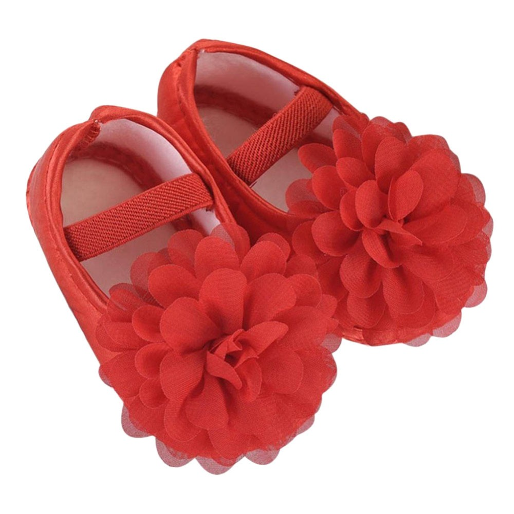 1 Pair Violet Color Cute Toddler Shoes Baby Flower Pink Soft Walking Shoes Newborn Chiffon Kid Elastic Band Summer