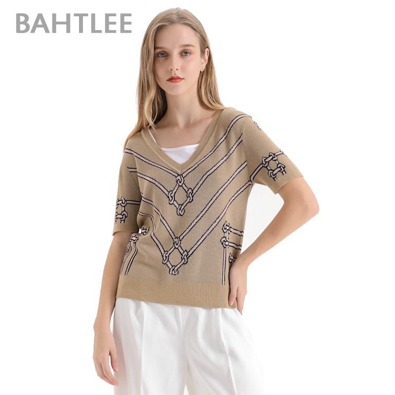 BAHTLEE women summer V neck Knitted sweater Short sleeves Jumper Jacquard weave Ventilation Loose style