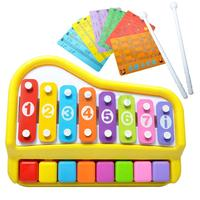 New Arrival 2 In 1 Piano Xylophone 8 Keys Mini Glockenspiel Instrument With Music Cards Learning Toys for Kids Baby Toddlers