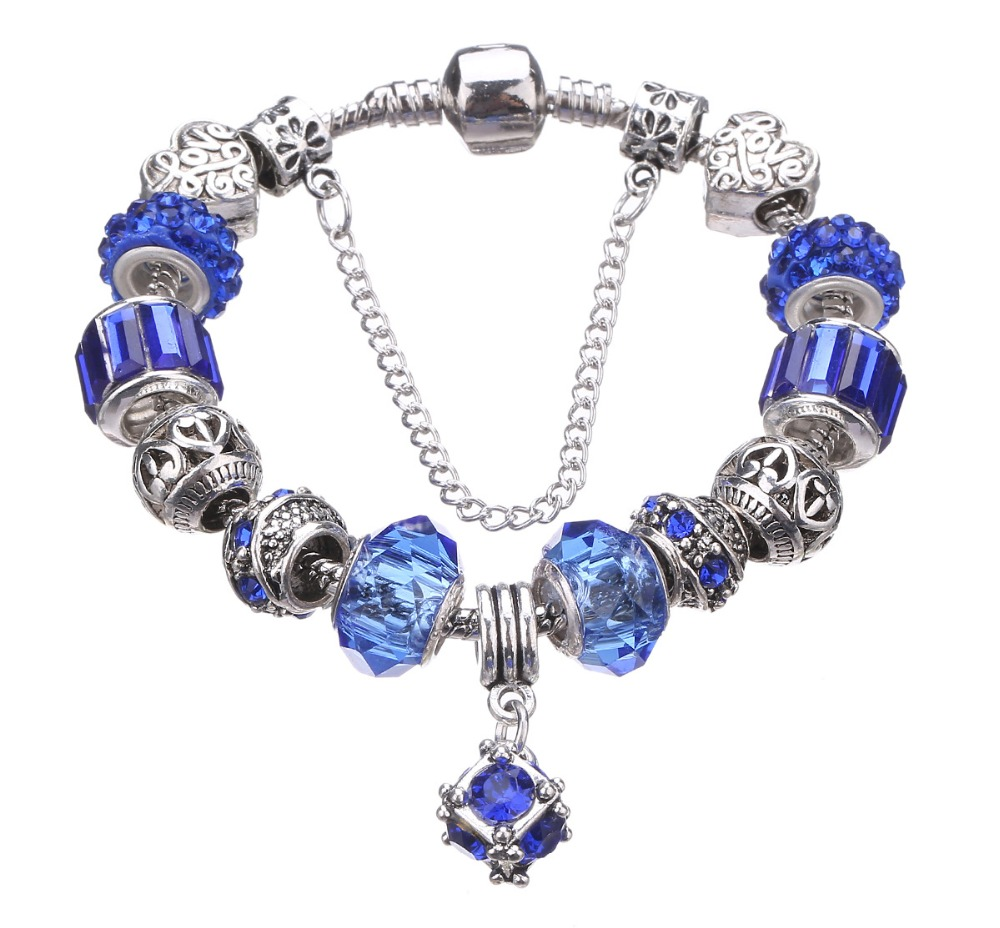 Authentic 925 Sterling Silver Pulseira With Murano Glass Beads Charm  Pandora Bracelets Snake Chain Bracelet For