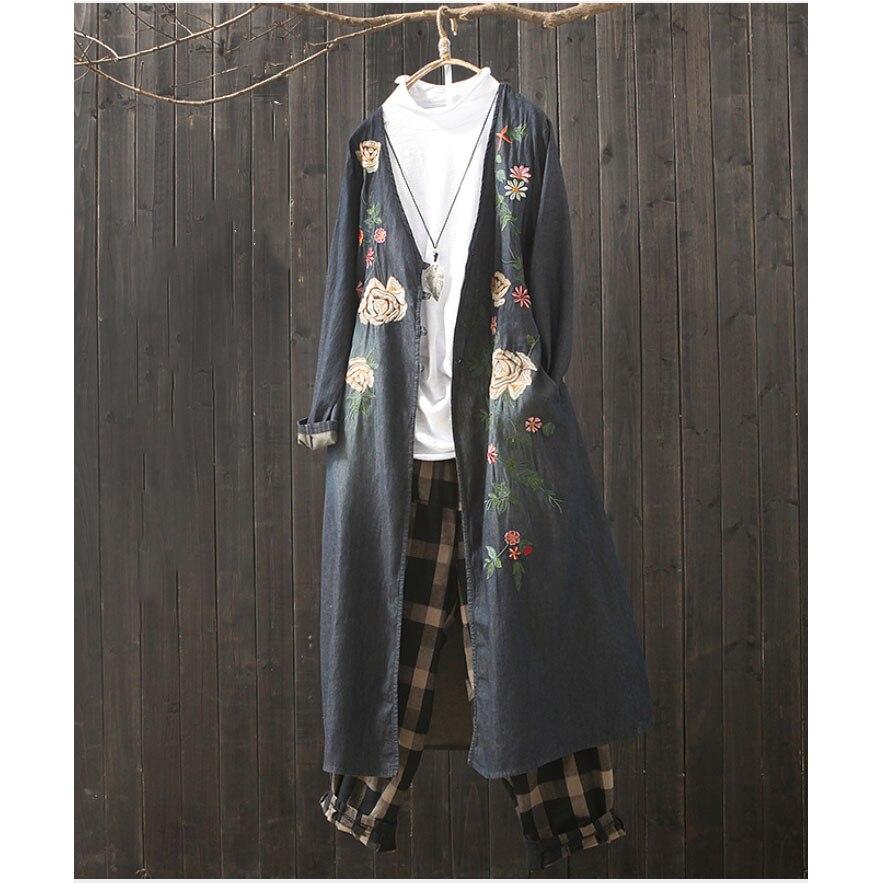 Retro Denim Long Embroidered Windbreaker 2019 Spring Autumn New Loose Large Size Cardigan Coat Female Cotton Jeans Jacket F1350