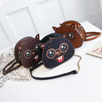 Lato Śliczne Kreatywny Wiewiórka Cartoon Kształt Telefon Monety Przechowywania Makijaż Chain Bag PU Skóra Dziewczyny Kobiety Crossbody Torba Na Ramię