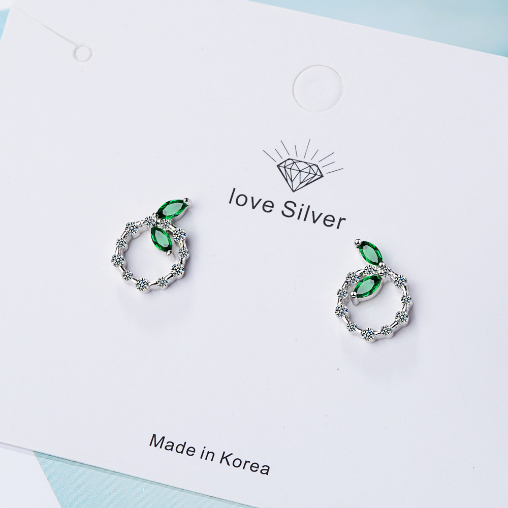 New Trendy Leaf Shine Cubic Zirconia 925 Sterling Silver Ladies Stud Earrings Wholesale Jewelry Women Anti Allergy Girls in Stud Earrings from Jewelry Accessories