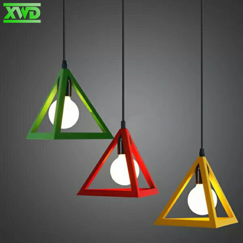 Learned Vintage Retro Pendant Lamp Led Pendant Lamp Metal Cube Cage Lampshade Lighting Hanging Green Red Yellow White Light Fixture