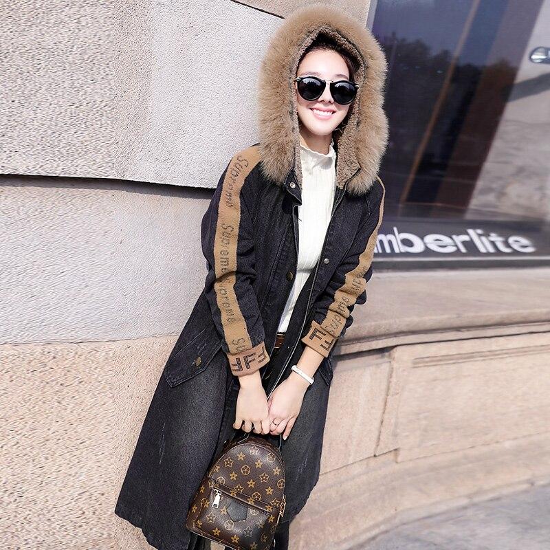 Veste Femmes Denim Épais Black Grand blue Capuche Col D'hiver Outwear De Femelle Agneau Nouvelles Rembourré Chaud 2018 Fourrure Jean À Polaire Manteau wXqCt5Onx