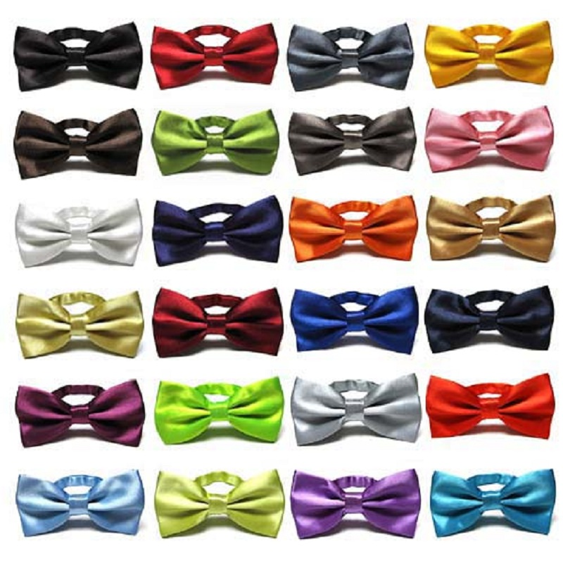 Solid Color Fashion Bow Ties For Men Accessories Polyester Butterfly Cravate
