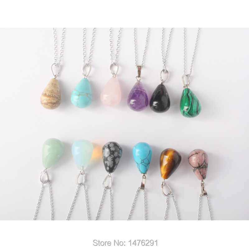 NEW Mix-Crystal Stone Onyx Rose Pink Crystal Opal Lapis Carnelian Tiger Eye  Water Drop Beads Pendants 1PCS (No Chain)