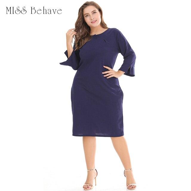 2018 Plus Size Woman Dress Elegant Casual Ladies Dress Vestido Robe ...