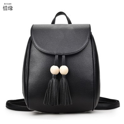 Soft pu Leather Ladies red Backpack high quality brown shoulder bags backpacks for teenage girls Preppy