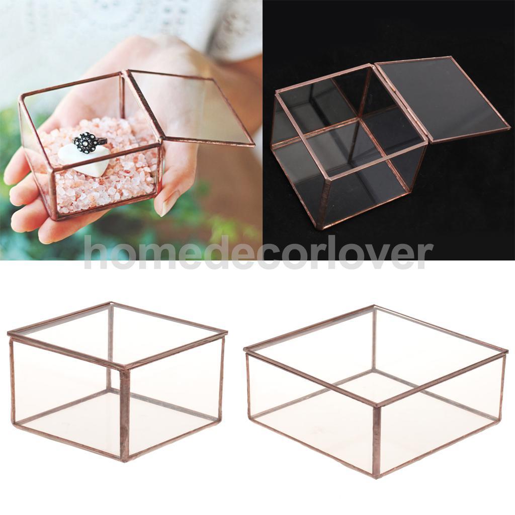 Geometric Glass Jewelry Box Tabletop Terrarium Plant Succulent Planter Box
