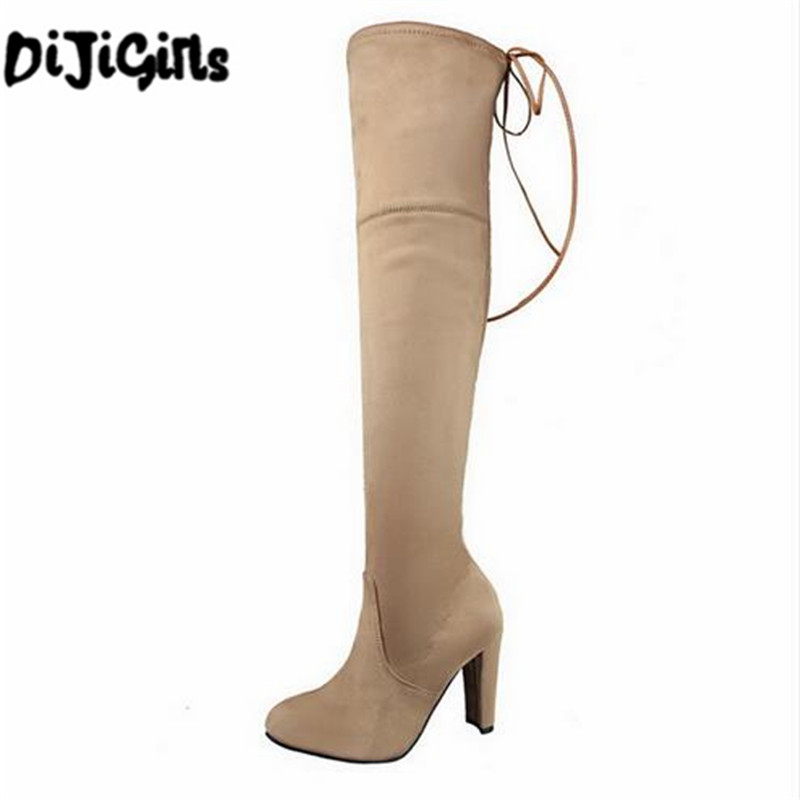 2018 Women Snow Boots Sexy Suede Stretch Slim Over The Knee High Boots Girls Winter Thigh High Boot Shoes Woman Botas Mujer Gift 2018 new winter women boots sexy over the knee high snow boots women s fashion winter thigh high boots shoes woman plus size 43