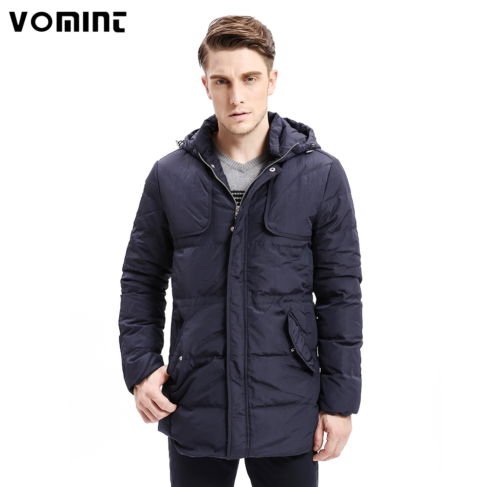Vomint 2017 Winter Men   Down     Coats   Heavy-weight Hoodie Organ Design 80%   Down   Warm Long Jackets Solid Color Basic Style P6VI9213