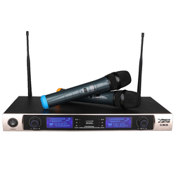 Professional UHF Wireless Microphone Karaoke System Dual Handheld Mic Transmitter KTV 2 Channel LED Cordless Mike With Receiver