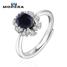 Mopera Kate Princess Diana Fine 0.9ct Natural Sapphire Halo Engagement Ring Genuine Pure 925 Sterling Sliver Jewelry For Women