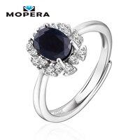 Mopera Kate Principessa Diana Fine 0.9ct Natural Sapphire Halo Anello Di Fidanzamento Genuine Pure 925 Sliver Gioielli Per Le Donne