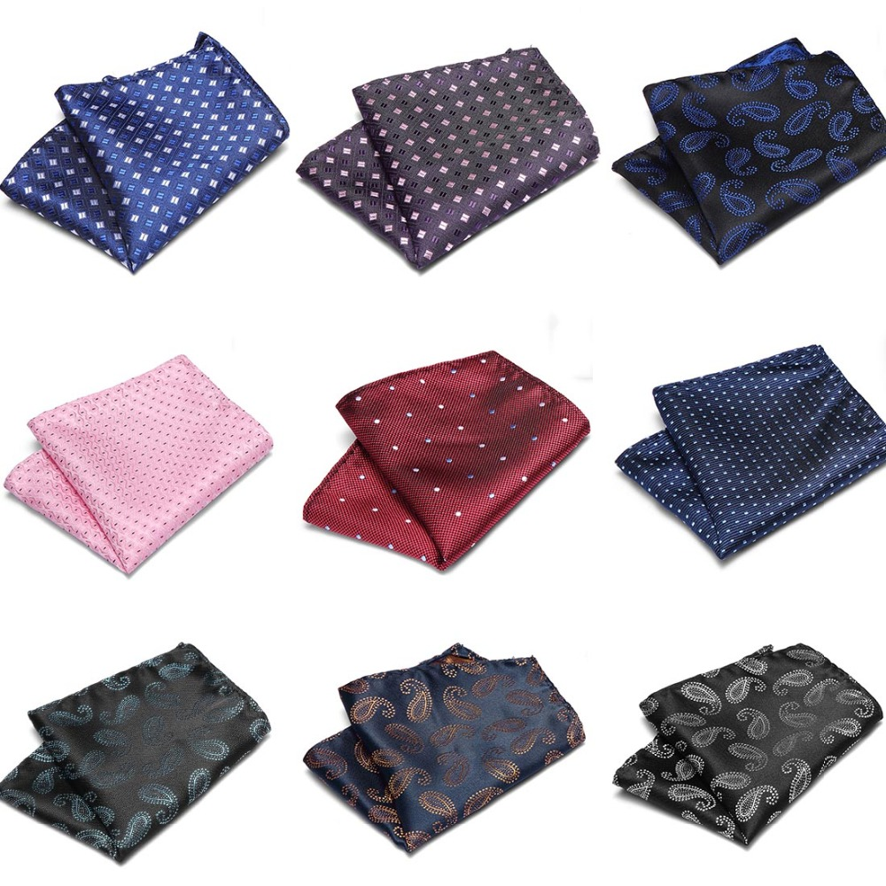 2019 New Fashion Handkerchief Printed Dot Plaid Pocket Square For Men Suits Accessories  Wedding Party Hankies