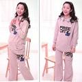 Outono chique camisola maternidade roupas femininas hoodies quentes + calças define comprimento longo hoodies para a mulher grávida macio 09065