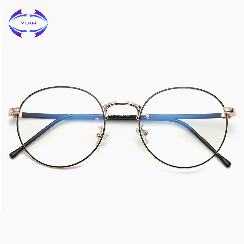 VCKA Anti-Blue Rays Woman Eyeglasses Computer Goggles Gaming Glasses UV Radiation Resistant Man PC Reading Round Eyewear
