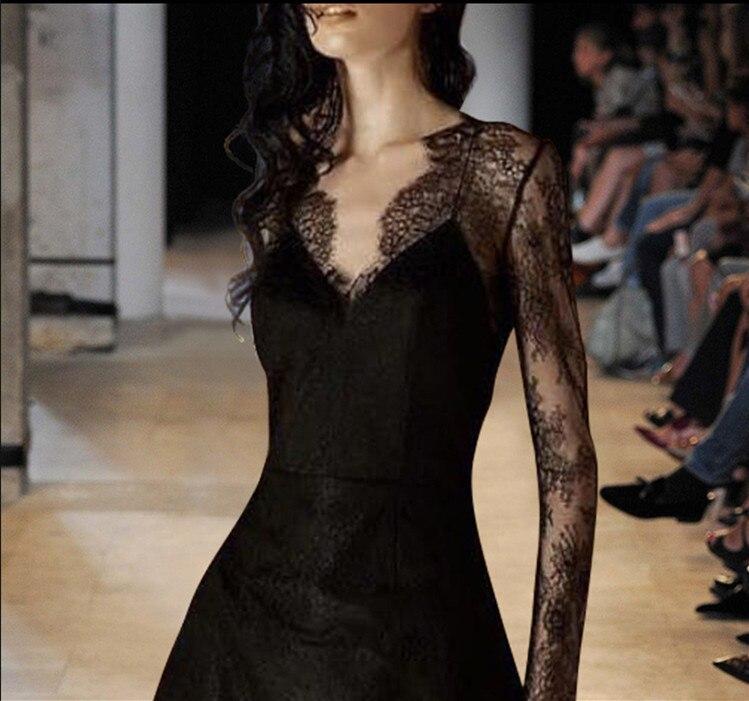 Femmes Nouvelle Sexy Femelle D'été De cou Évider V 2018 Base Mode Dentelle Robe Noir Transparent TTrvqX